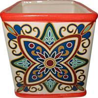 Cachepot Squared Floral Vintage- Vermelho & Bege- 12Urban