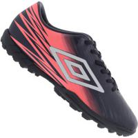 6d412d85bff93 Chuteira Society Umbro Hit Tf - Adulto - Azul Esc Branco