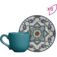 Conjunto De Xícaras De Café Arabesco- Verde Água & Azul