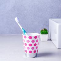 Porta Escova De Dentes Bolinhas Branco E Rosa Coisas E Coisinhas