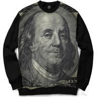 Blusa Bsc Benjamin Franklin Full Print - Masculino-Preto