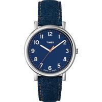 Relógio Masculino Timex, Analógico, Pulseira De Couro Jeans, Caixa De 4,2Cm, Resistente À Água 3 Atm - T2N955Wwtn
