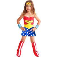 Fantasia Infantil Sulamericana - Mulher Maravilha Standard - Tamanho P (3 A 5 Anos) - 22060 - Azul