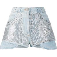 Balmain Short Jeans Com Detalhe De Aplicação - Azul