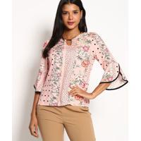 Blusa Floral- Rosa- Vip Reservavip Reserva