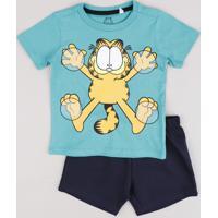 Conjunto Infantil Garfield De Camiseta Manga Curta Verde Água + Short Em Moletom Preto