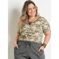 Blusa Camuflada Com Tira Marguerite Plus Size