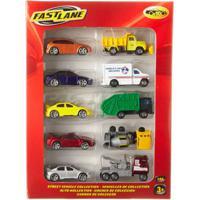 Conjunto De Veículos Die Cast - Pack 10 Carrinhos Da Cidade - Fastlane