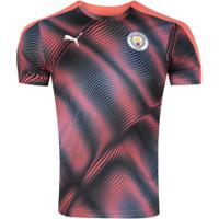 Camisa Pré-Jogo Manchester City 19/20 Puma - Masculina - Rosa/Preto