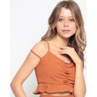 Blusa Cropped Com Franzido - Marrom - Chocoleitechocoleite