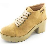 Bota Quality Shoes Camurça Feminina - Feminino-Caramelo
