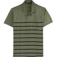 Camisa Verde Militar Polo Tradicional Listrada