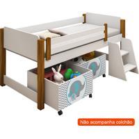 Conjunto De Cama Infantil Naty Com Baú E Escada Branco E Verde