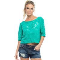 Blusa Texturizada Com Transparãªncia- Verde- Vestemvestem