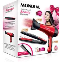 Kit Mondial Especial Beauty Infinity Secador + Prancha Kt-44 220V - Feminino-Preto+Vermelho