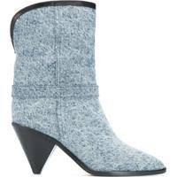 Isabel Marant Bota Jeans Bico Fino - Azul