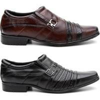 Kit 2 Pares Sapato Social Hshoes Couro Conforto Elegante Masculino - Masculino-Marrom+Preto