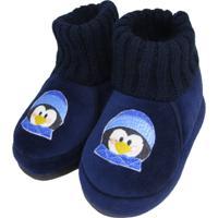 Pantufa Infantil Maria Emília Pinguino Azul