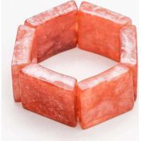 Pulseira Bracelete Madrepérola Quadrada Branca Ros