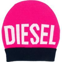 Diesel Kids Gorro De Tricô Com Logo - Rosa