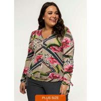 Camisa Feminina Botões Estampa Floral Cinza