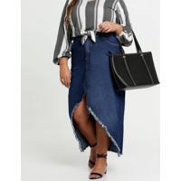Saia Feminina Jeans Mullet Barra Desfiada Plus Size