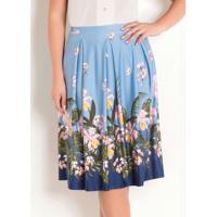 Saia Com Prega Moda Evangélica Floral Azul