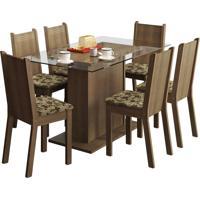 Sala De Jantar Madesa Base De Madeira Com Tampo De Vidro E 6 Cadeiras Gales - Rústico E Bege-Marrom