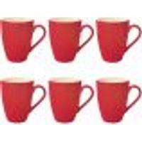 Conjunto 6 Xícaras De Chá Yoi 320Ml Caneca Cerâmica Color Vermelha