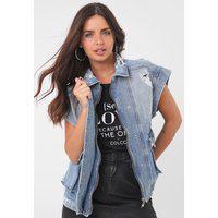 Colete Jeans Colcci Mickey Azul