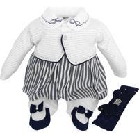 Macacão Sonho Mágico Bebê Menina Longo Com Tiara Branco