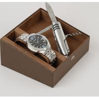 Kit De Relógio Analógico Mondaine Masculino + Canivete - 99362G0Mvne2K Prateado - Único