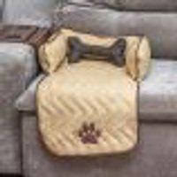 Protetor De Sofá Pet Pequeno Bege Martelado 45Cm X 88Cm X 15Cm + Almofada Ossinho