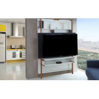 Rack Suspenso - Painel De Madeira Para Tv Branco Com Preto Para Tv Até 60 Polegadas Karl Woodinn - 134X25,5X180 Cm
