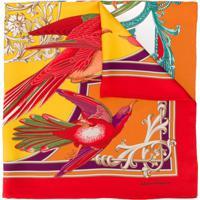 Salvatore Ferragamo Echarpe Com Estampa Floral E Patchwork - Vermelho