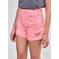 Short Hot Pants Em Sarja Rosa Neon