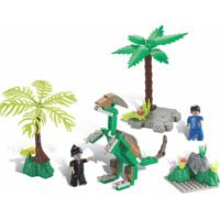 Blocos De Encaixe Xalingo Dino Saga Operação Oviraptor Dinossauros 112 Peças 6576 Verde