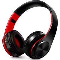 Fone De Ouvido Bluetooth Dobrável - Preto E Vermelho
