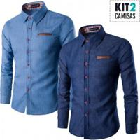 Combo 2 Camisas Estilo Jeans Slim Fit Detalhes Xadrez - Azul Escuro E Azul Claro