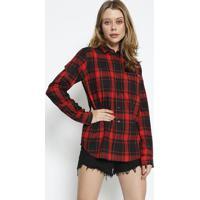 Camisa Xadrez Com Bolso- Preta & Vermelha- Colccicolcci