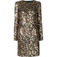 Dolce & Gabbana Vestido Animal Print Com Paetês - Dourado