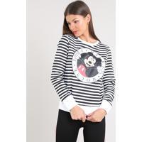 Blusão Feminino Mickey Listrado Em Moletom Off White