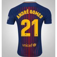 Camisa Do Barcelona I 17/18 Nº 21 André Gomes - Masculina - Azul Escuro