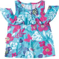 Blusa Floral Com Recortes Vazados - Azul Claro & Rosa