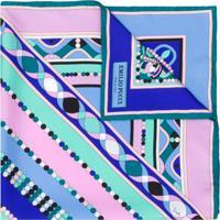 Emilio Pucci Lenço Com Estampa Abstrata De Seda - Azul