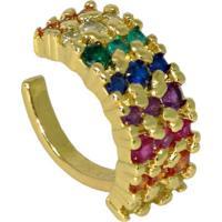 Brinco Infine Piercing Falso Rainbow Colorido Banhado A Ouro