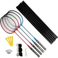 Kit Badminton 4 Raquetes + 2 Petecas + 1 Rede + Suporte + Bolsa Vollke - Unissex