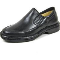 Sapato Social Couro Igo Elástico Liso Casual Conforto Masculino - Masculino-Preto