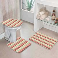 Jogo Tapetes Para Banheiro Abstrato Triângulares