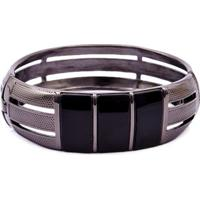 Bracelete Metal Negro E Onix Fane'S 21